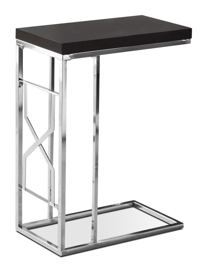 Seoul Accent Table - Cappuccino and Silver