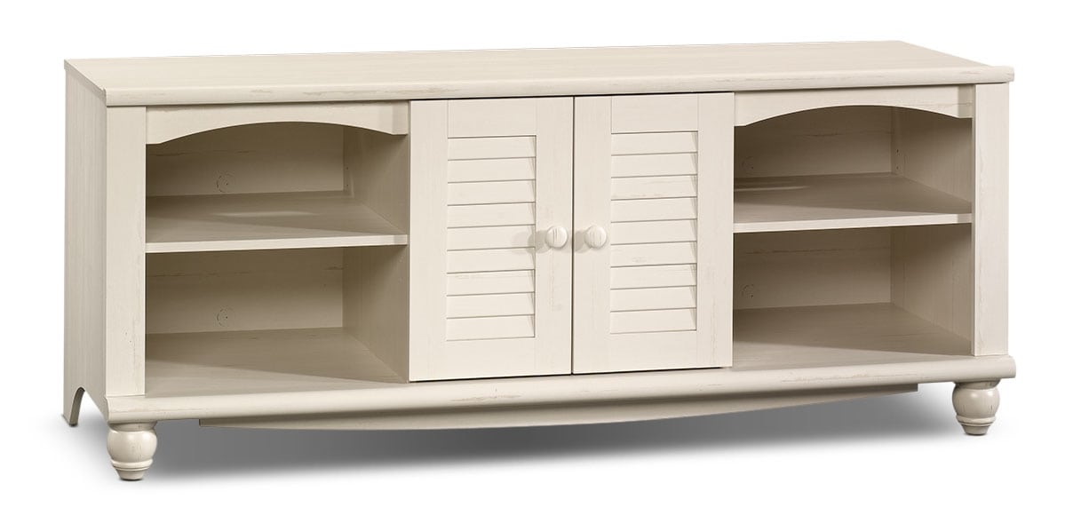 "Entertainment Furniture - Baytona 63"" TV Stand - Antiqued White"