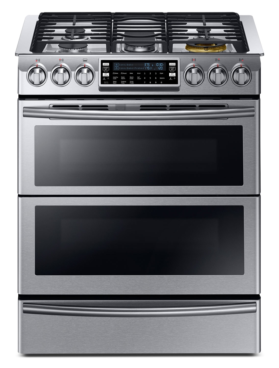 Double Oven Slide In Electric Range Stainless Steel Samsung 5.8 Cu. Ft. Dual-Fuel Slide-In Range – NY58J9850WS ...
