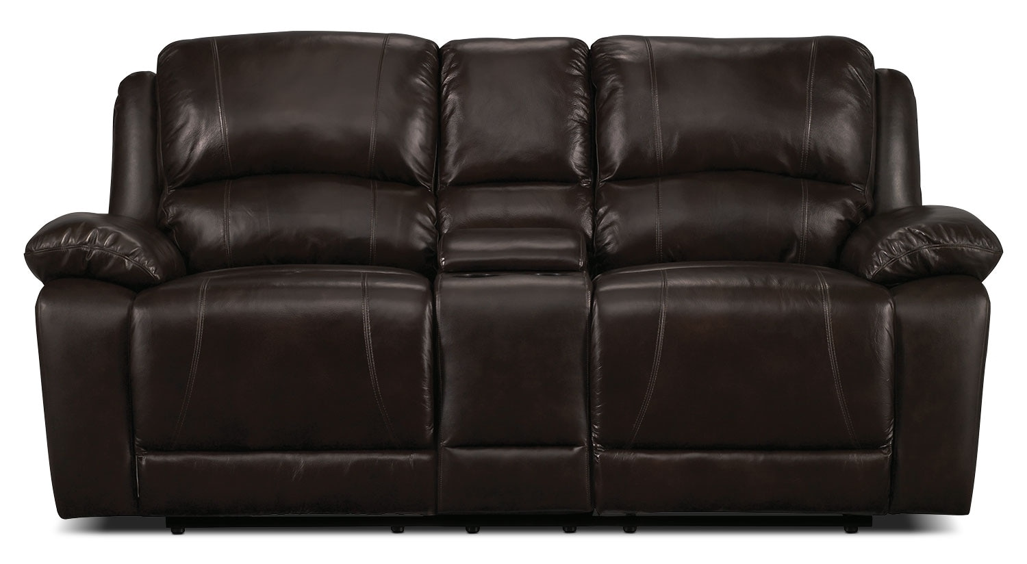 Living Room Furniture - Marco Genuine Leather Reclining Loveseat - Chocolate
