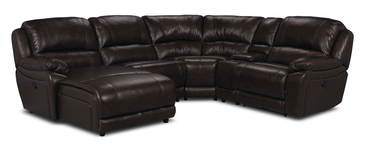 Living Room Furniture - Marco Genuine Leather 5-Piece Sectional with Left-Facing Inclining Chaise – Chocolate