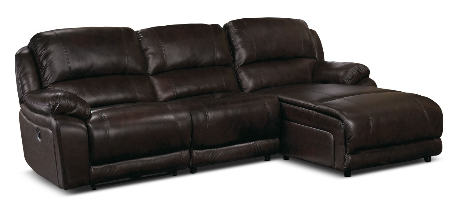 Living Room Furniture - Marco Genuine Leather 3-Piece Sectional with Right-Facing Inclining Chaise– Chocolate