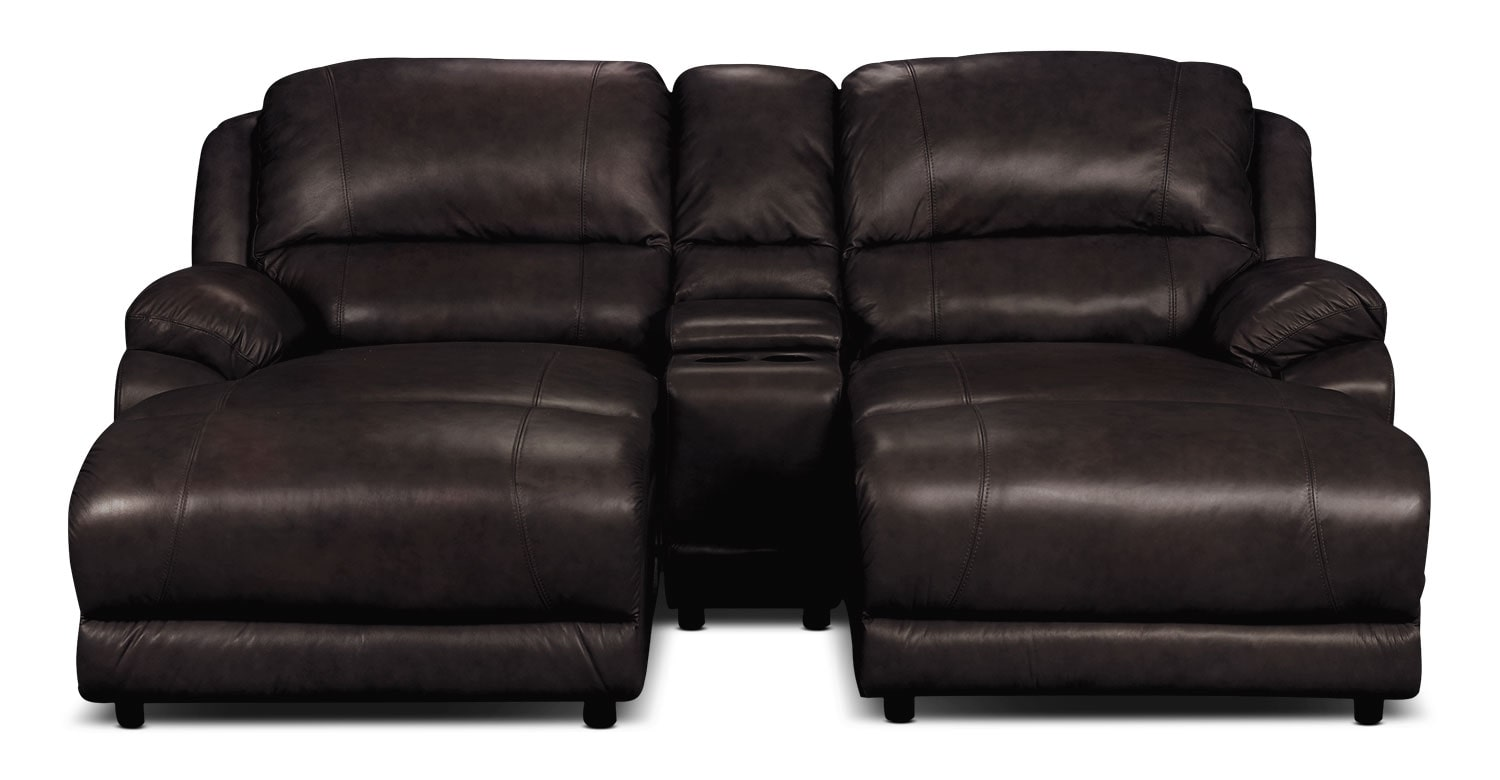 Marco Genuine Leather 3-Piece Sectional with Console– Chocolate