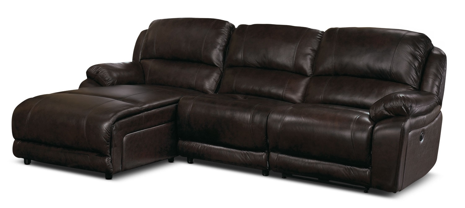 Marco Genuine Leather 3-Piece Sectional with Left-Facing Inclining Chaise– Chocolate