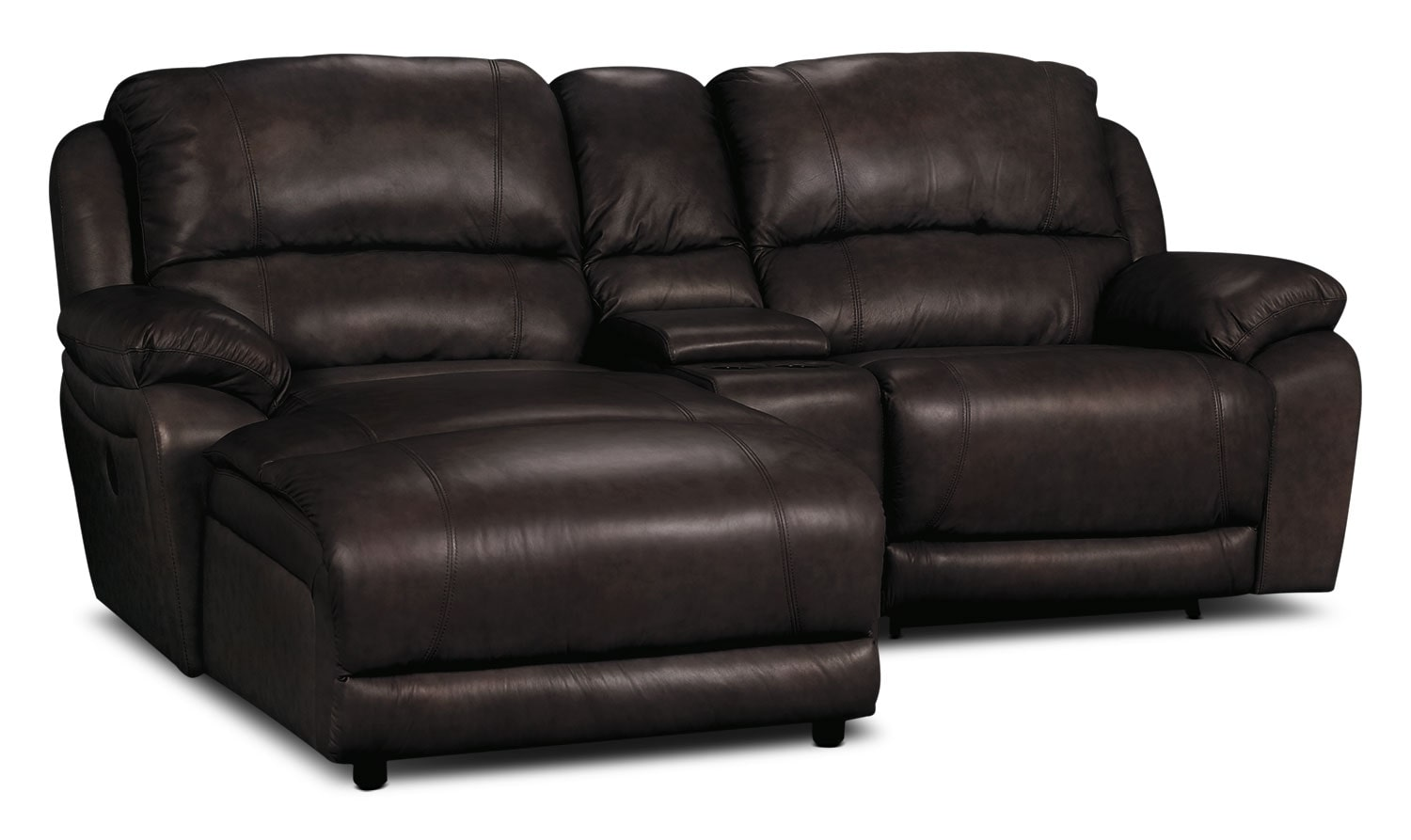 Living Room Furniture - Marco Genuine Leather 3-Piece Sectional with Chaise, Power Recliner, and Console– Chocolate