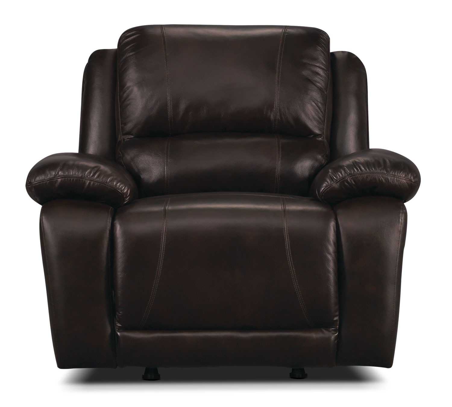 Living Room Furniture - Marco Genuine Leather Reclining Chair - Chocolate