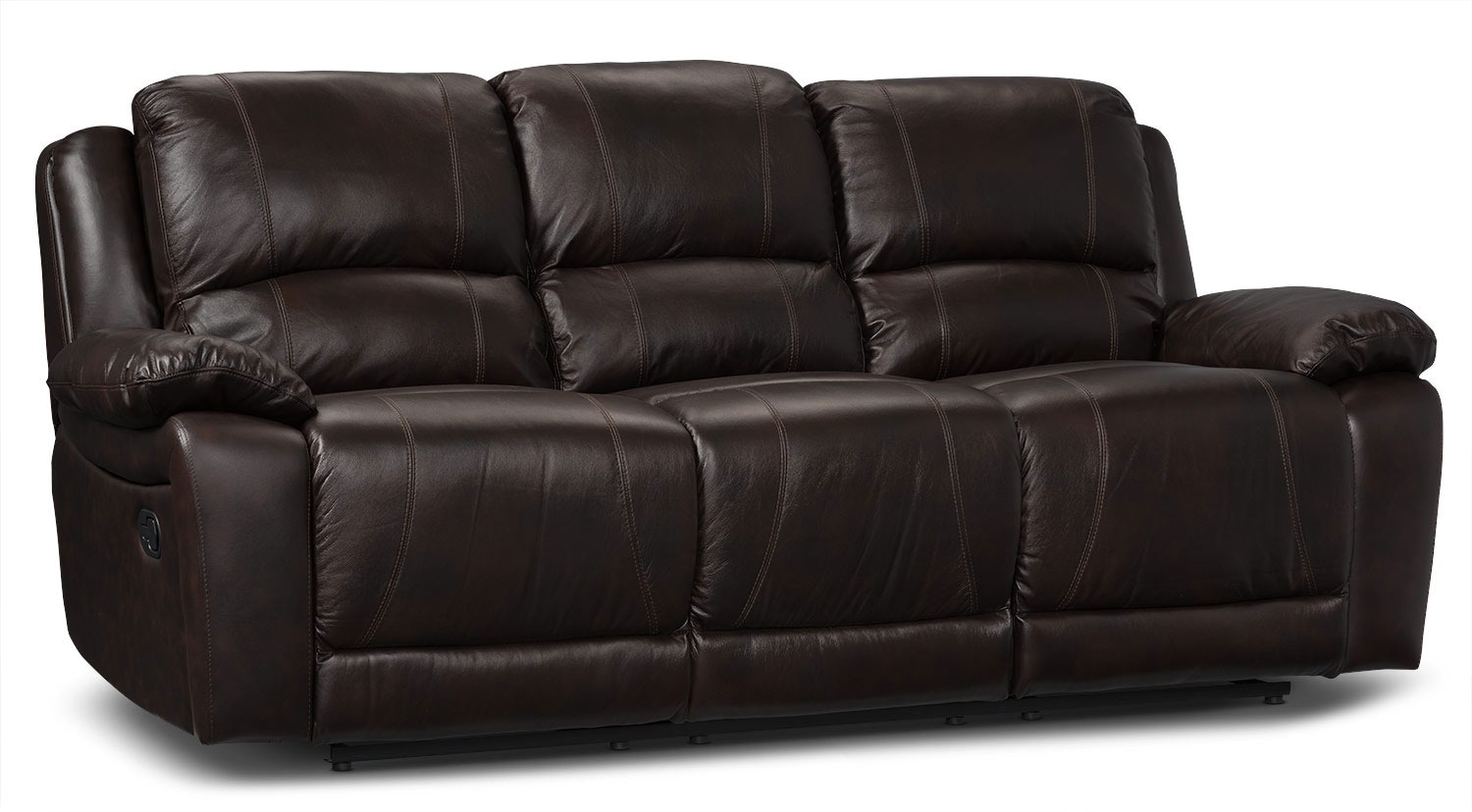 Marco genuine leather power reclining sofa chocolate for Leather reclining sofa