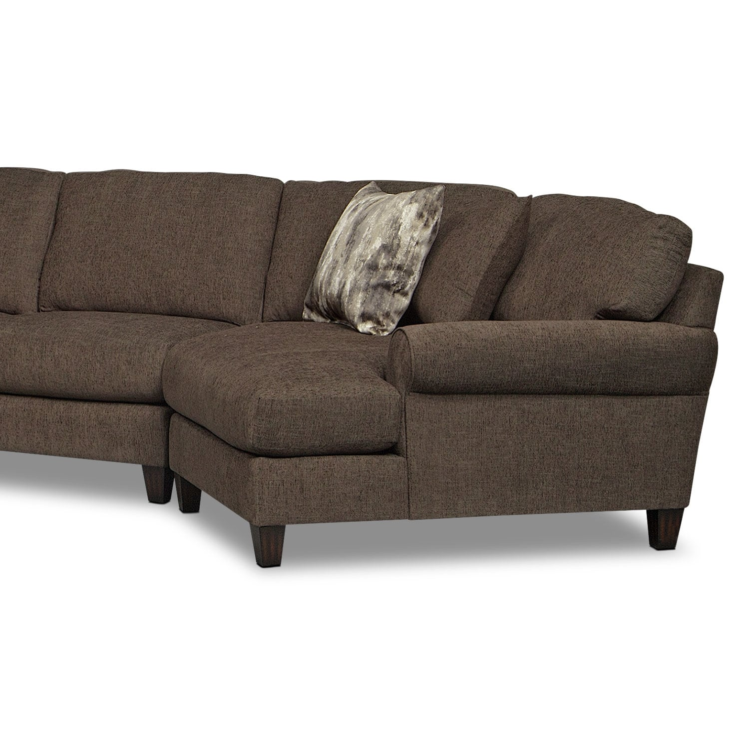 Karma 3 Piece Sectional With Right Facing Cuddler Smoke