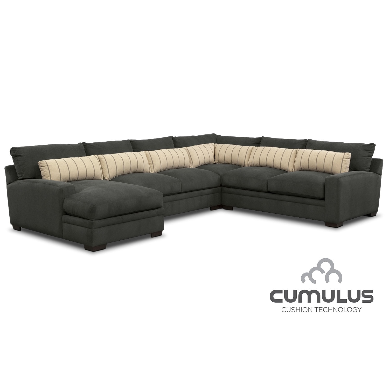 [Ventura Charcoal 4 Pc. Sectional (Reverse)]