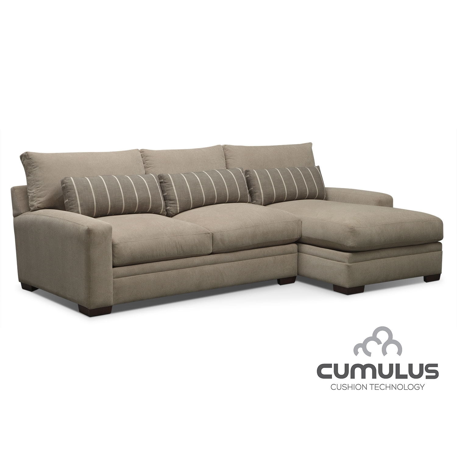 Cumulus cushion technology by kroehler value city furniture for Flexsteel 4 piece sectional sofa with right arm facing chaise in brown