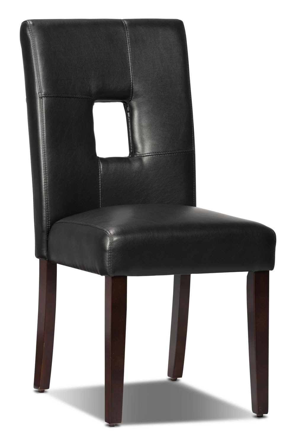 Mckena faux leather dining chair black the brick for Black leather dining room chairs