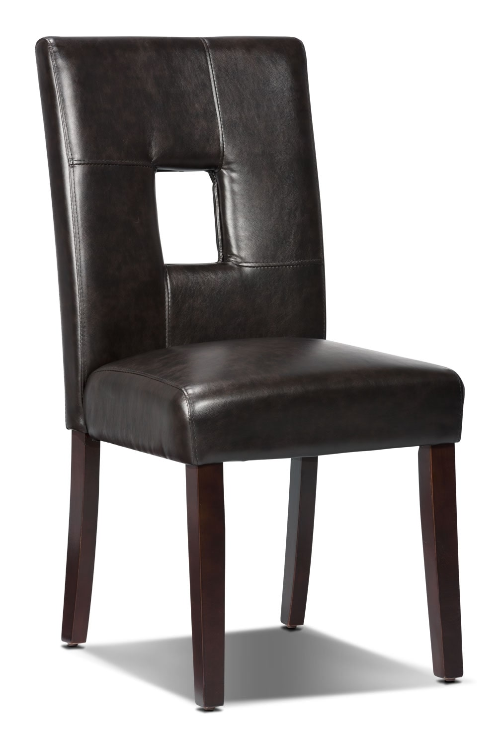 Mckena faux leather dining chair brown the brick for Brown leather dining room chairs