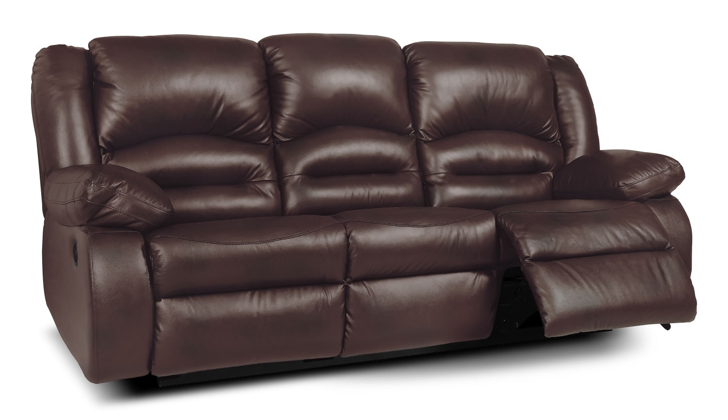 Toreno genuine leather reclining sofa brown the brick for Real leather sofas