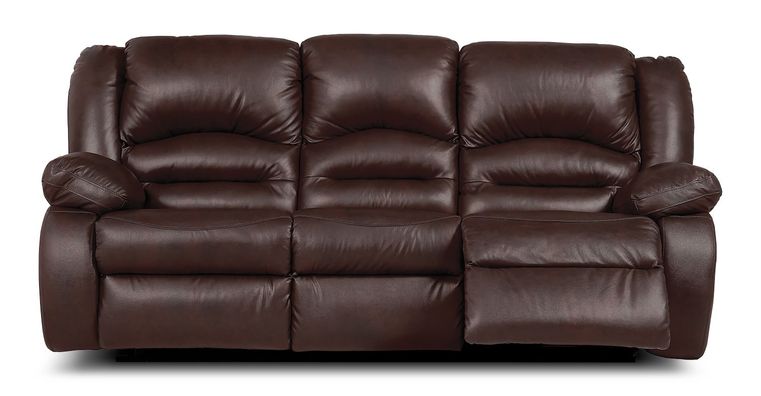 Living Room Furniture - Toreno Brown Genuine Leather Reclining Sofa