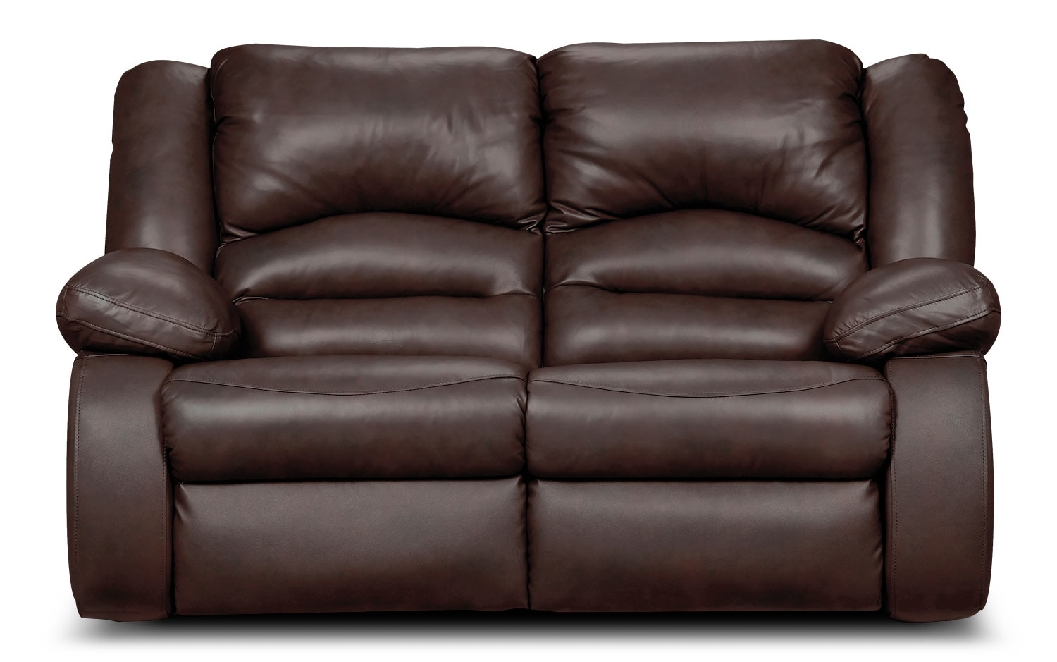 Living Room Furniture - Toreno Brown Genuine Leather Reclining Loveseat
