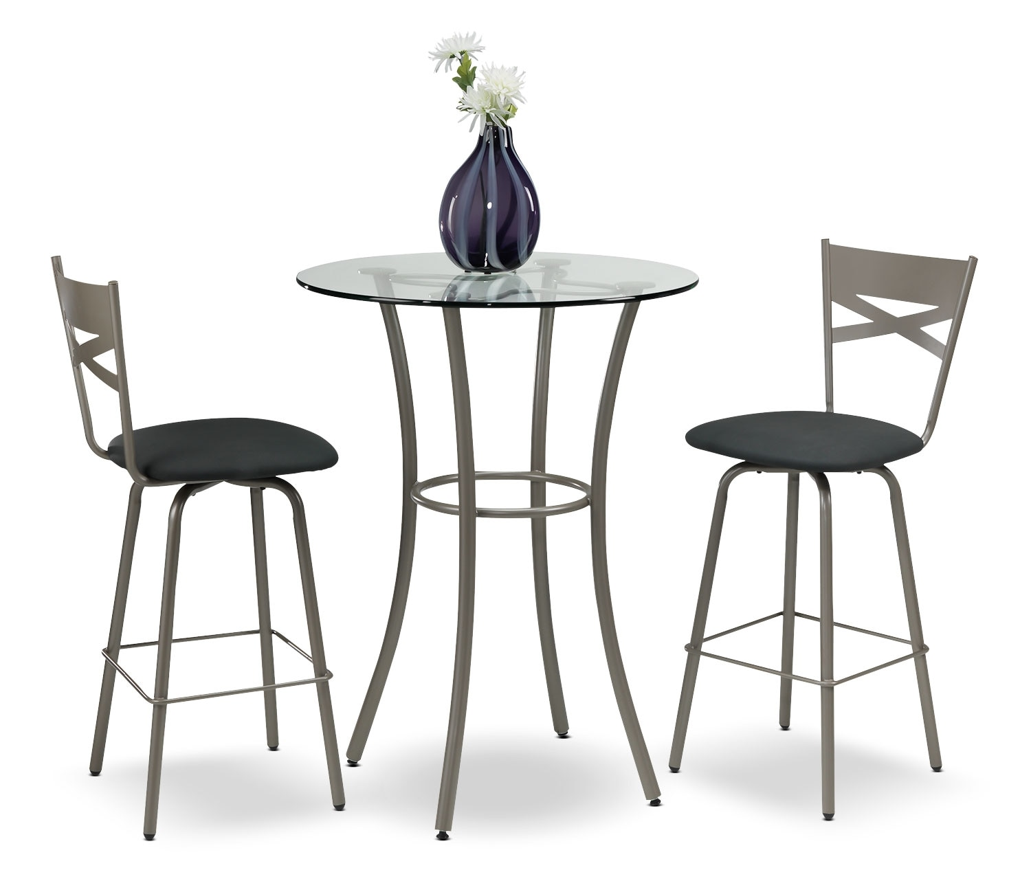 Casual Dining Room Furniture - Lotus 3-Piece Dinette Set - Bronze