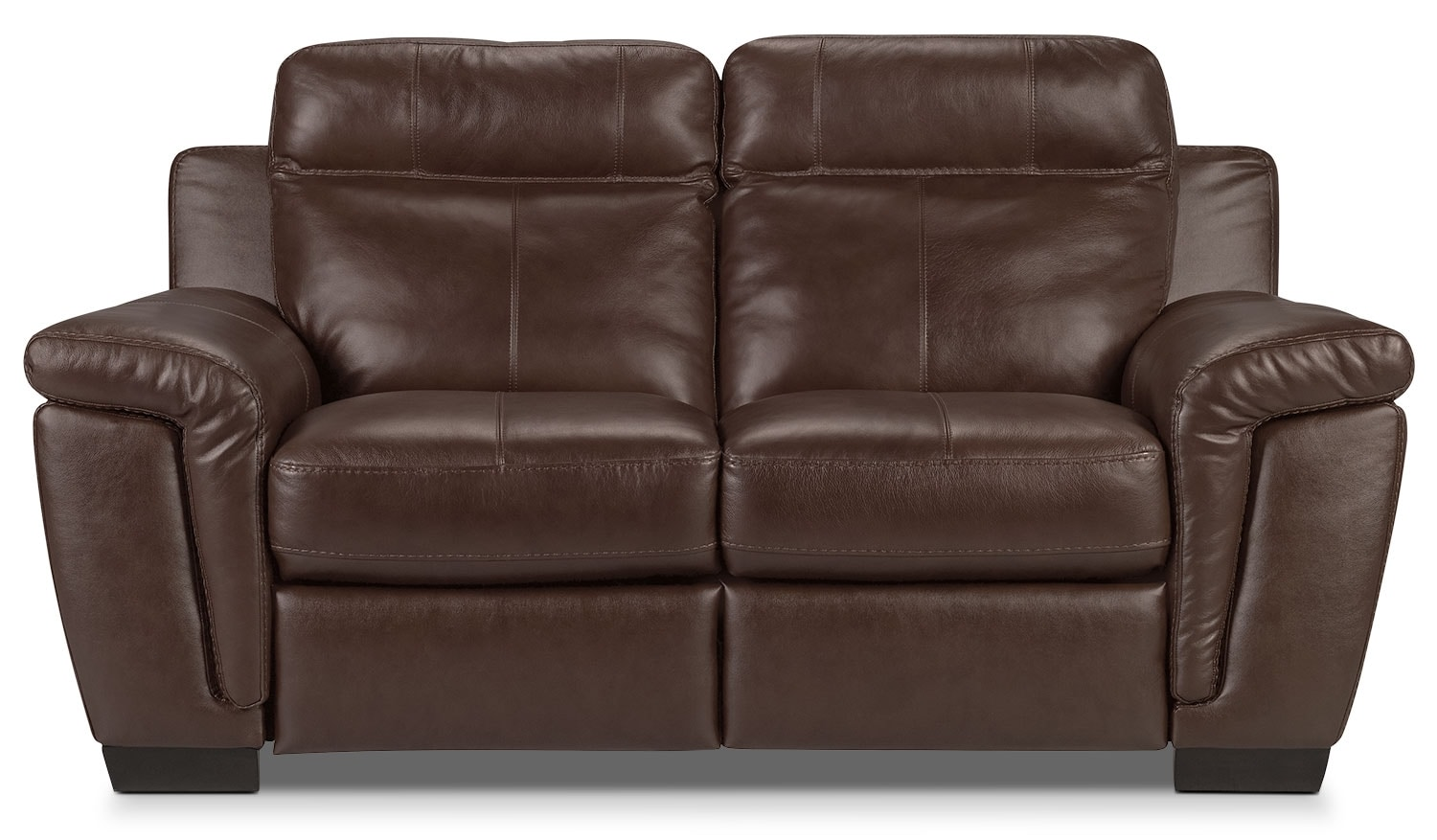 Living Room Furniture - Seth Genuine Leather Loveseat - Mahogany