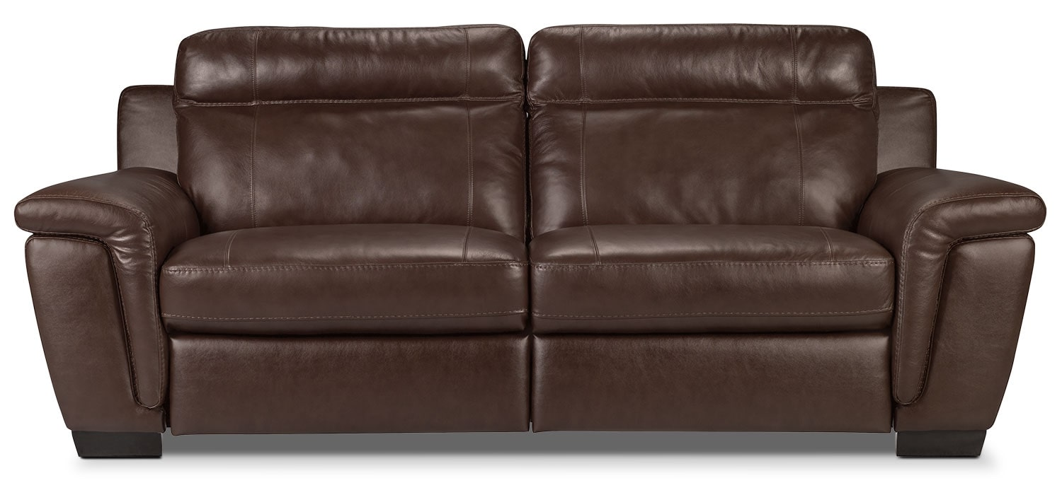 Living Room Furniture - Seth Genuine Leather Sofa - Mahogany