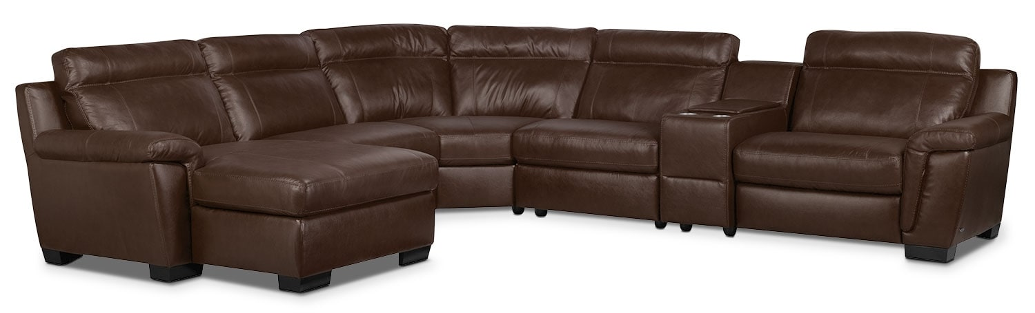 Living Room Furniture - Seth Genuine Leather 6-Piece Sectional with Console and Chaise - Mahogany