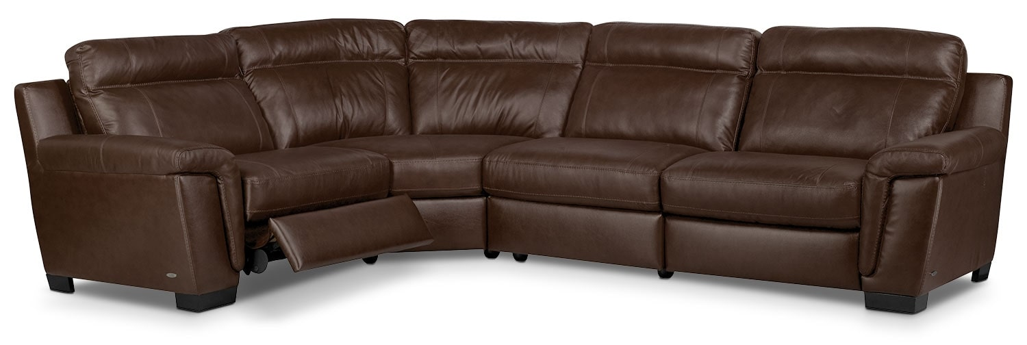 Living Room Furniture - Seth 4-Piece Genuine Leather Power Reclining Sectional – Mahogany