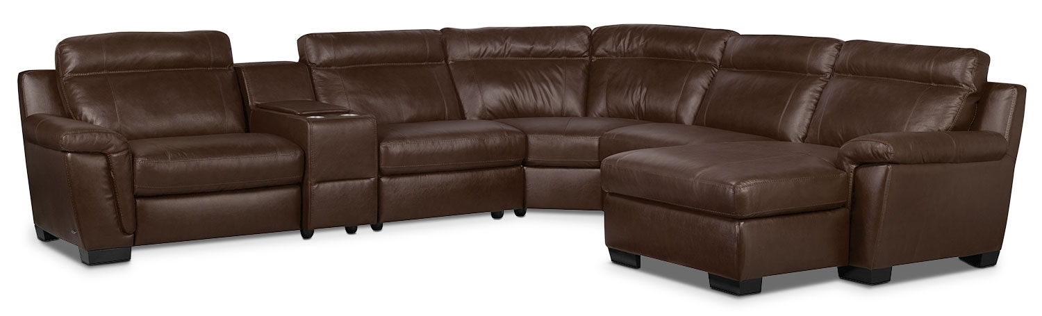 Living Room Furniture - Seth 6-Piece Genuine Leather Sectional – Mahogany