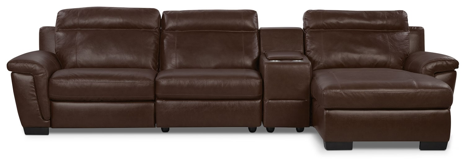 Living Room Furniture - Seth Genuine Leather 4-Piece Power Reclining Sectional with Console - Mahogany