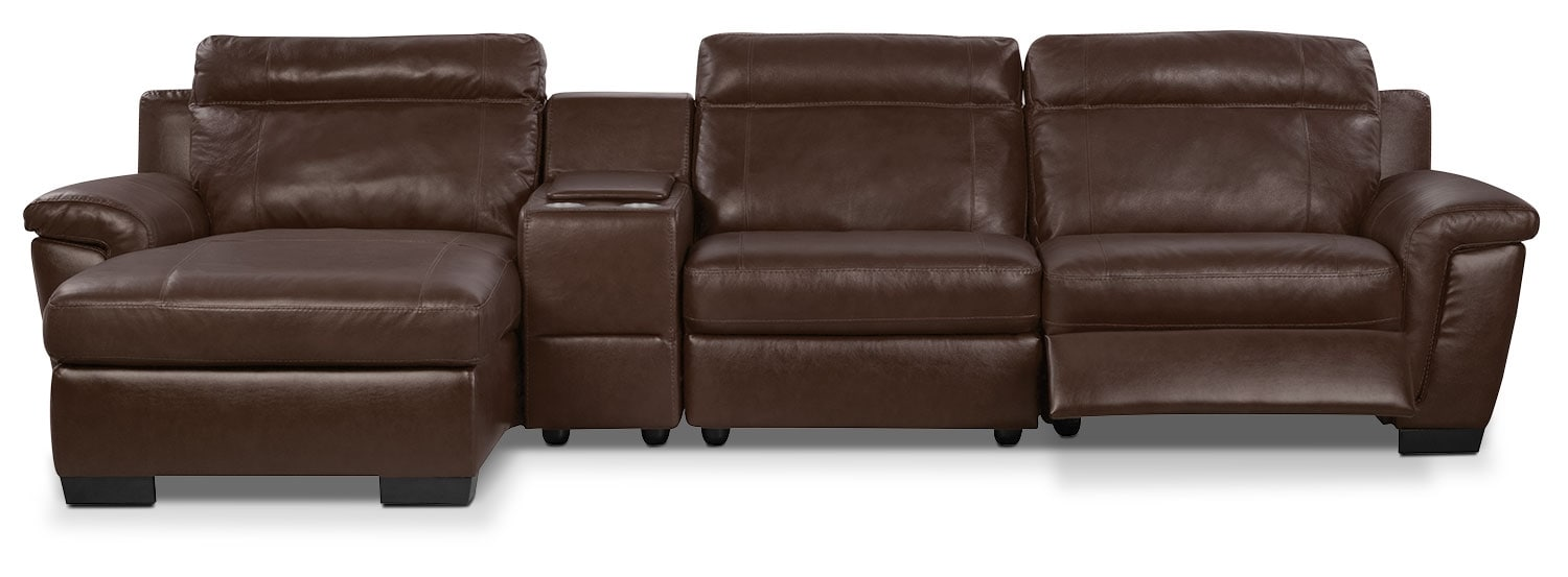 Living Room Furniture - Seth Genuine Leather 4-Piece Sectional with Console - Mahogany