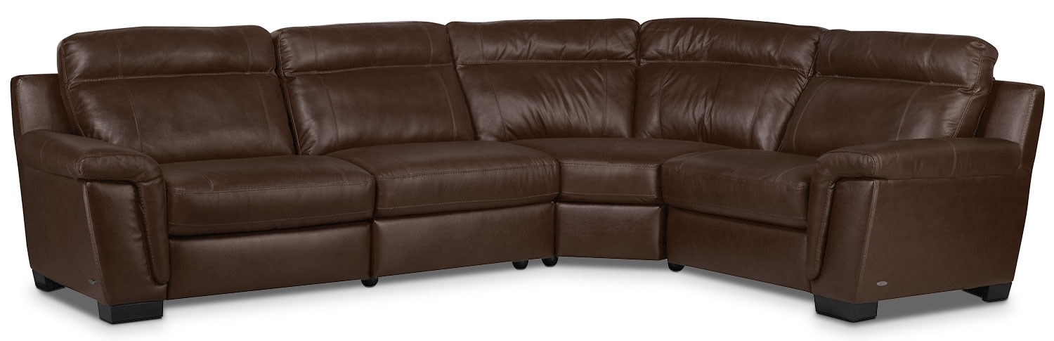 Living Room Furniture - Seth Genuine Leather 4-Piece Sectional - Mahogany