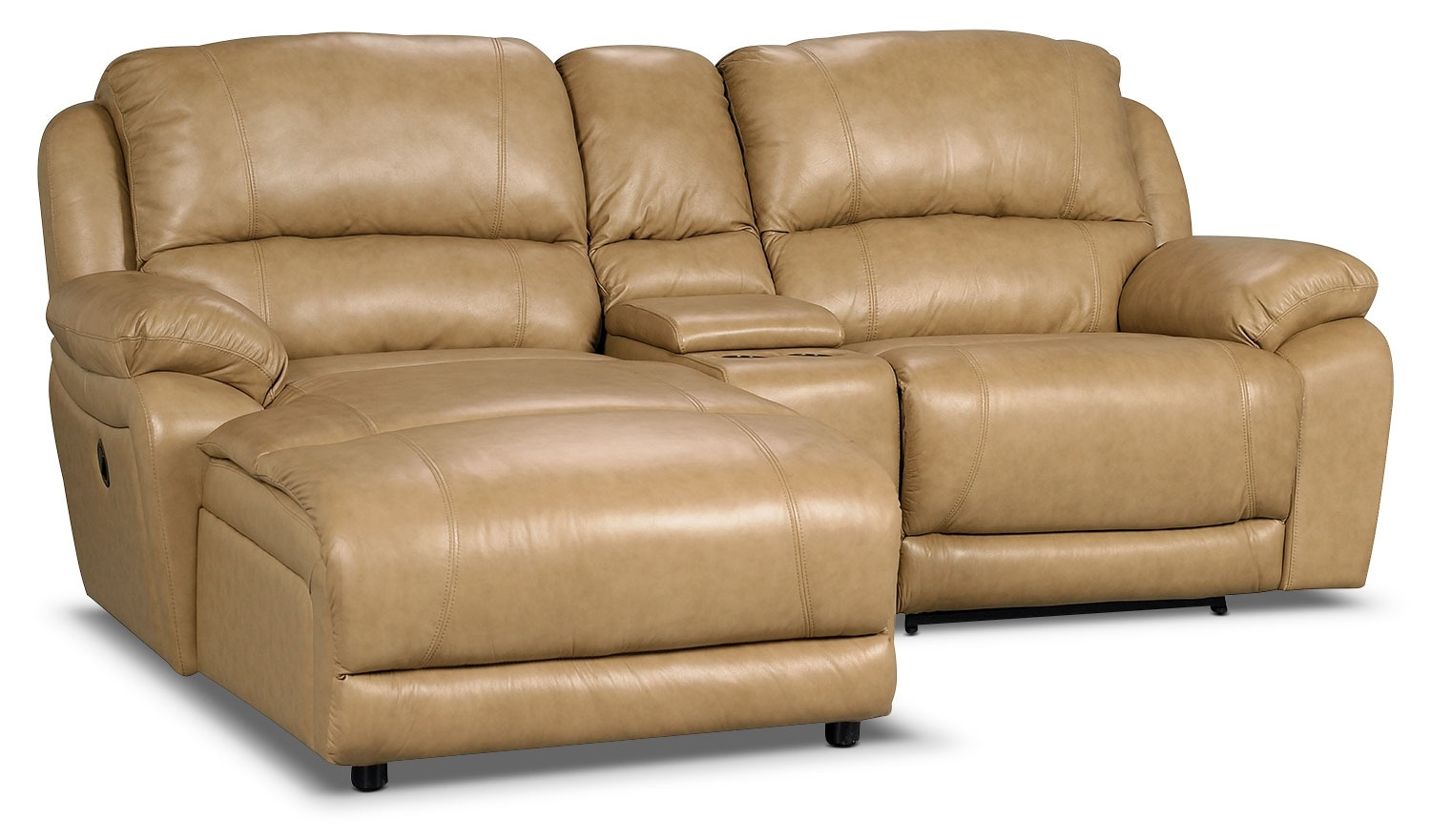 Living Room Furniture - Marco Genuine Leather 3-Piece Sectional with Chaise, Power Recliner and Console– Toffee