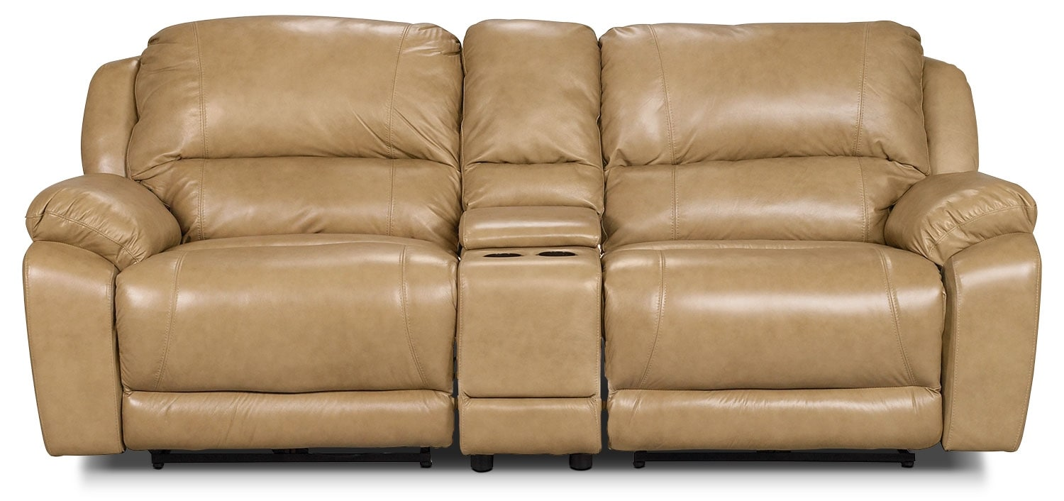 Living Room Furniture - Marco Genuine Leather 3-Piece Power Reclining Sectional with Console – Toffee