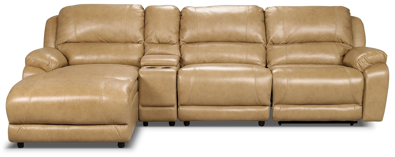 Marco Genuine Leather 4-Piece Sectional with Power Recliner and Console– Toffee
