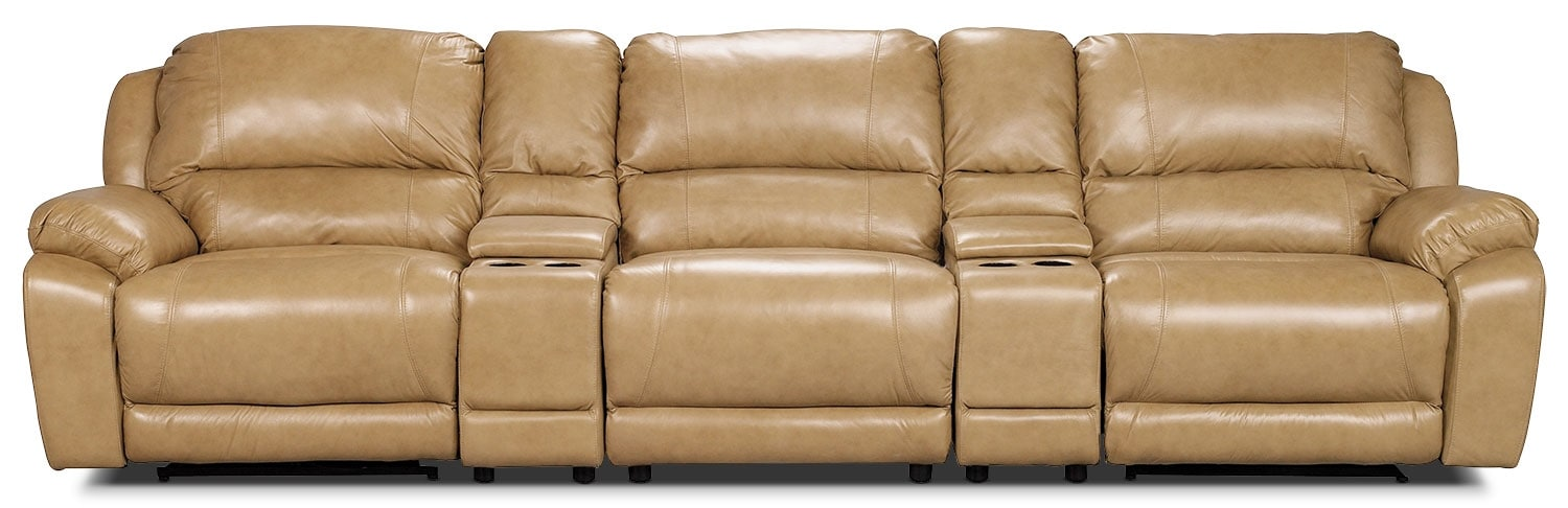Marco Genuine Leather 5-Piece Sectional with Two Power Recliners– Toffee