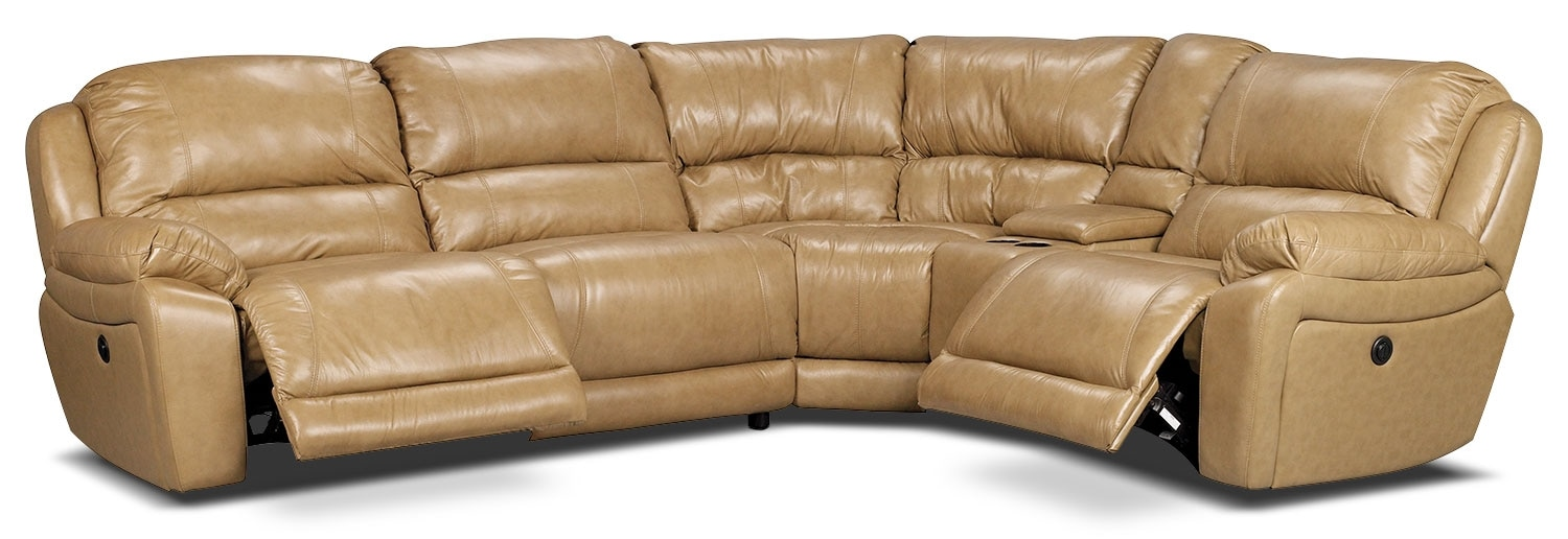 Living Room Furniture - Marco Genuine Leather 5-Piece Sectional with Power Recliners– Toffee