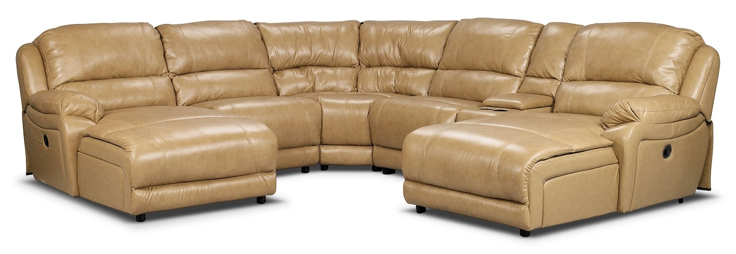 Living Room Furniture - Marco Genuine Leather 6-Piece Sectional with Two Inclining Chaises– Toffee