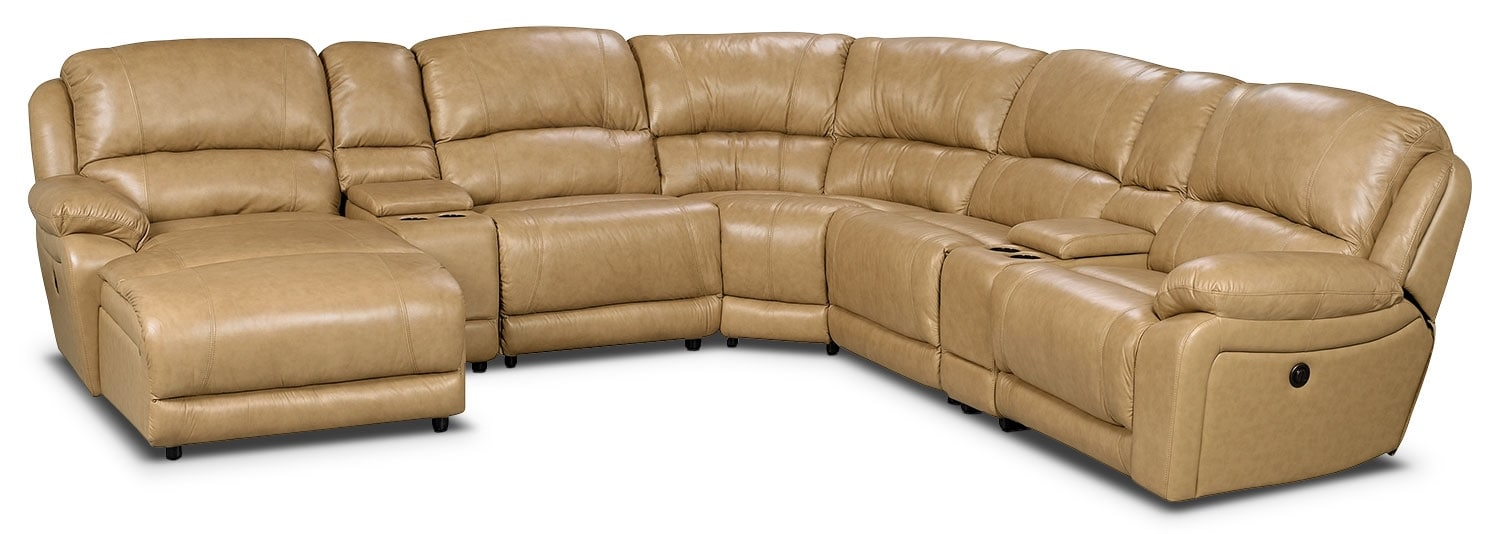 Living Room Furniture - Marco Genuine Leather 7-Piece Sectional – Toffee