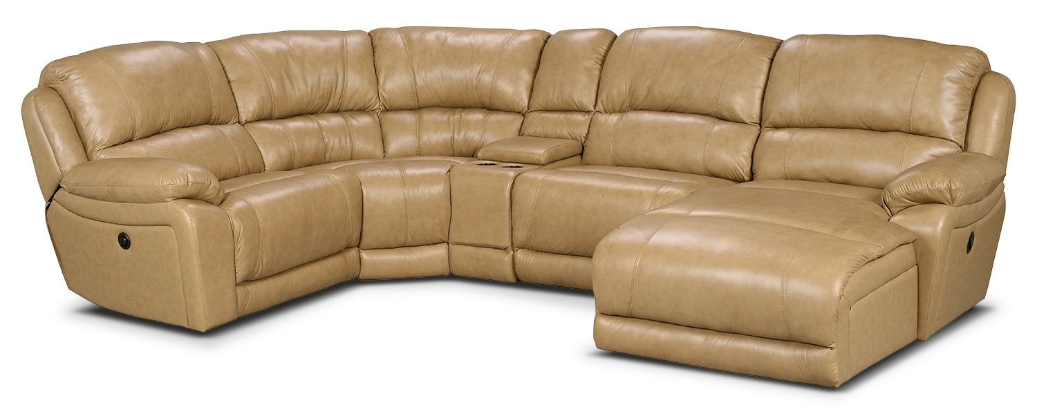 Marco Genuine Leather 5-Piece Sectional with Right-Facing Inclining Chaise – Toffee
