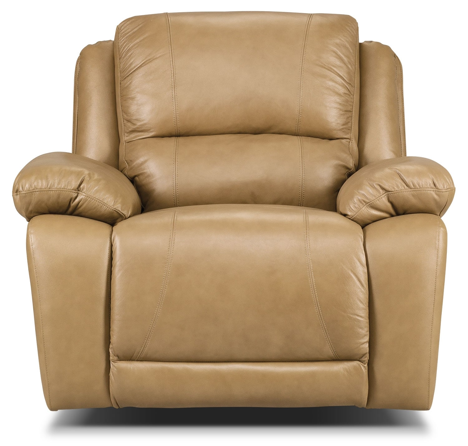 Living Room Furniture - Marco Genuine Leather Reclining Chair - Toffee