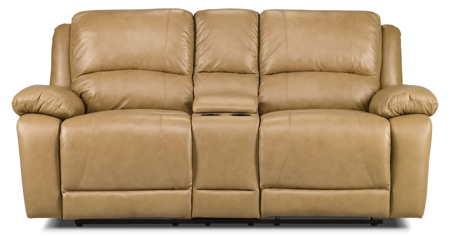 Living Room Furniture - Marco Genuine Leather Power Reclining Loveseat - Toffee