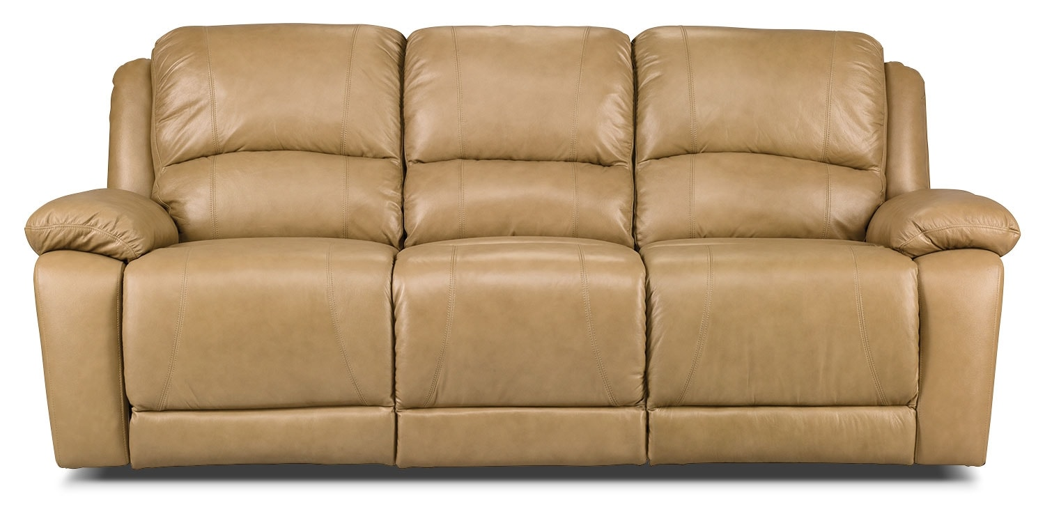 brick living room furniture marco genuine leather reclining sofa toffee the brick 17593