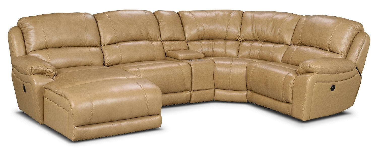 Marco Genuine Leather 5-Piece Sectional with Left-Facing Inclining Chaise – Toffee