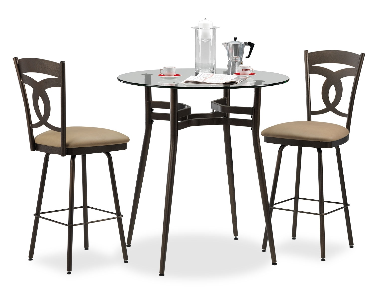 Casual Dining Room Furniture - Anais 3-Piece Dinette Set - Beige and Brown
