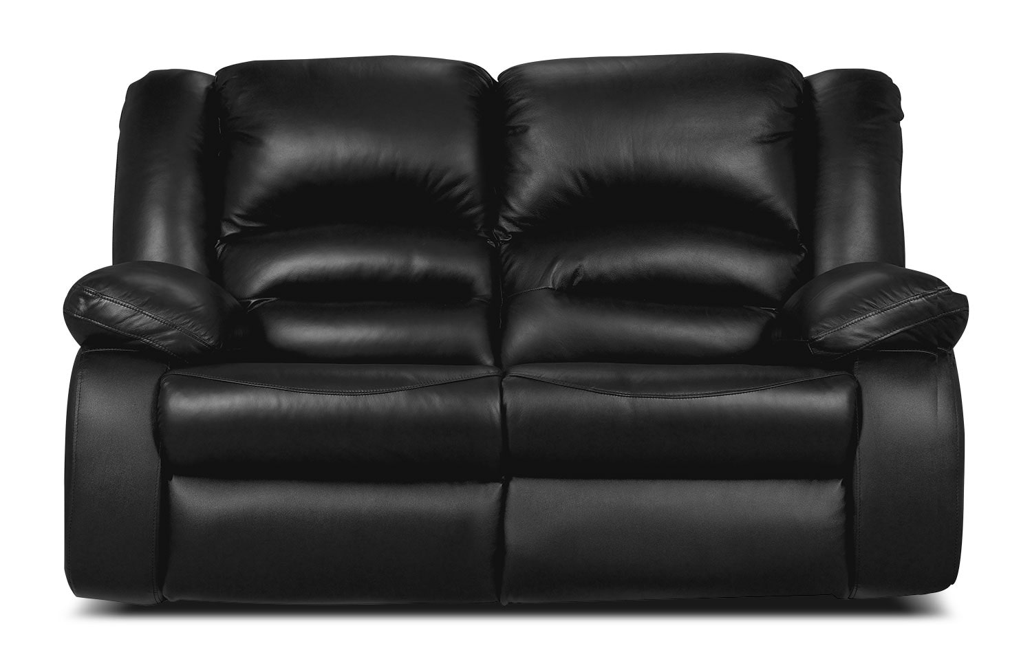 Living Room Furniture - Toreno Black Genuine Leather Reclining Loveseat