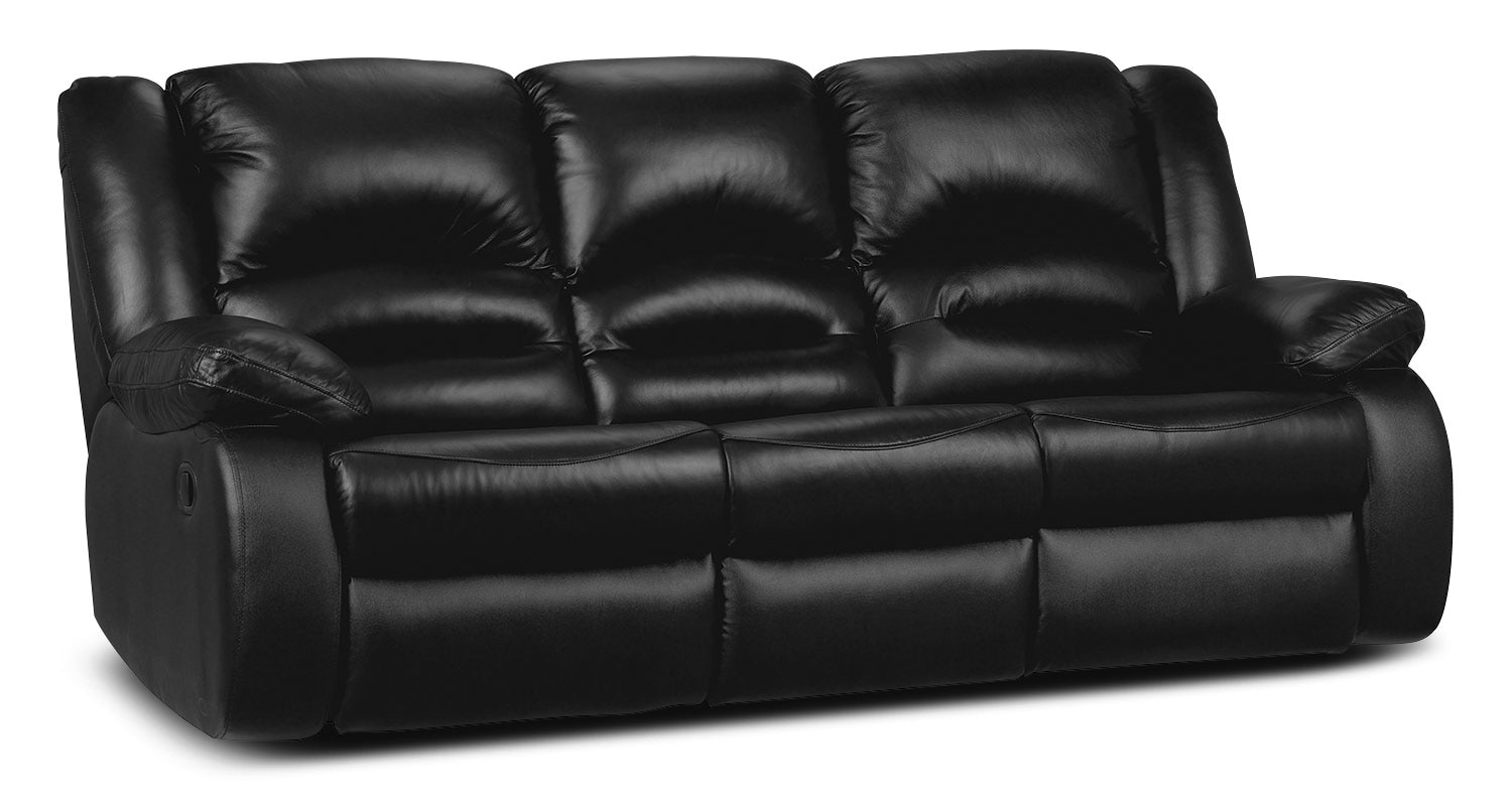 Toreno Genuine Leather Power Reclining Sofa Black The