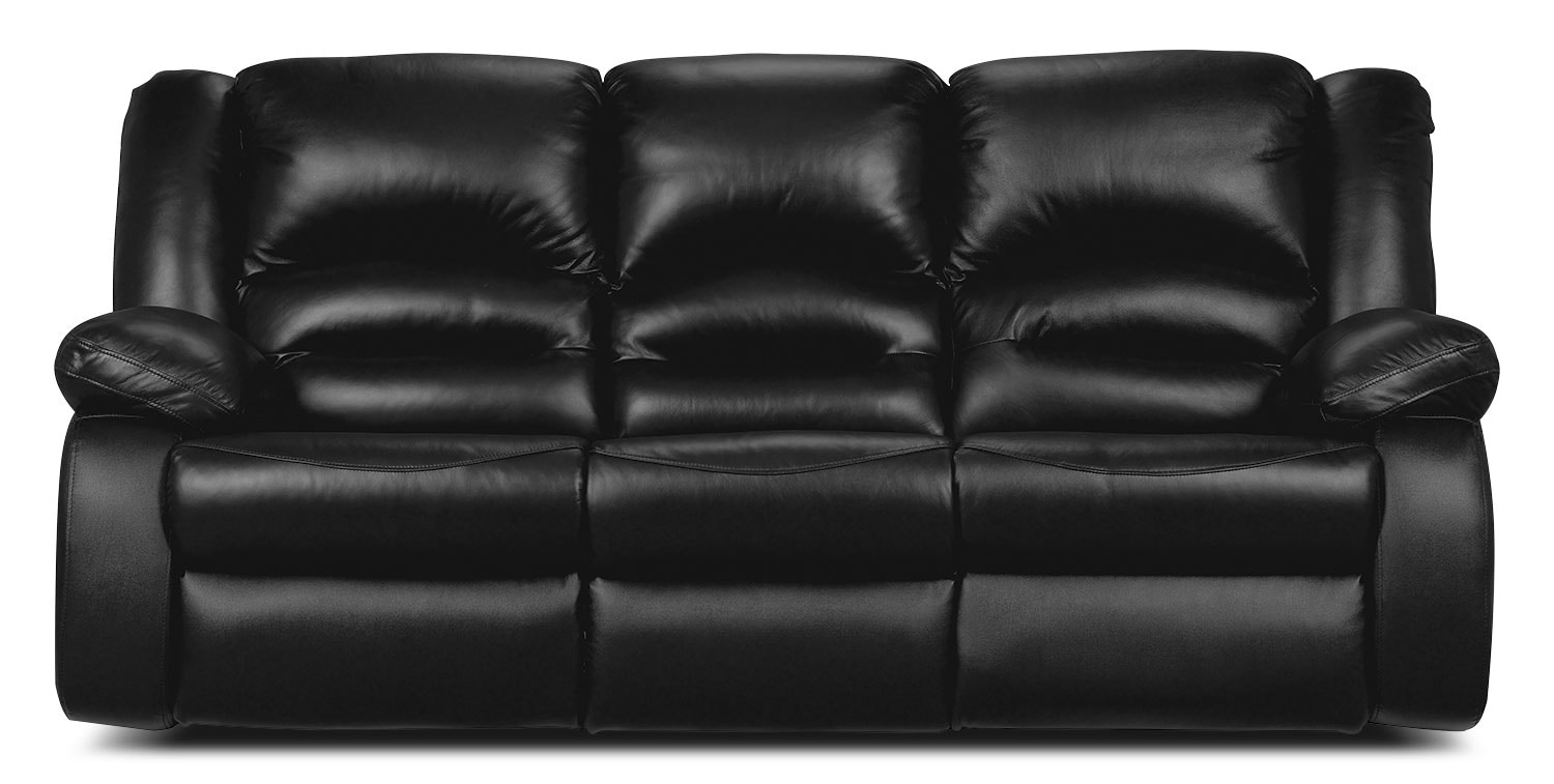 Living Room Furniture - Toreno Black Genuine Leather Seating Power Reclining Sofa