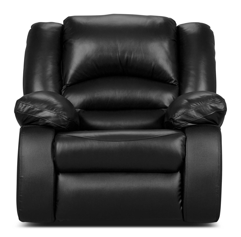 Living Room Furniture - Toreno Black Genuine Leather Power Recliner