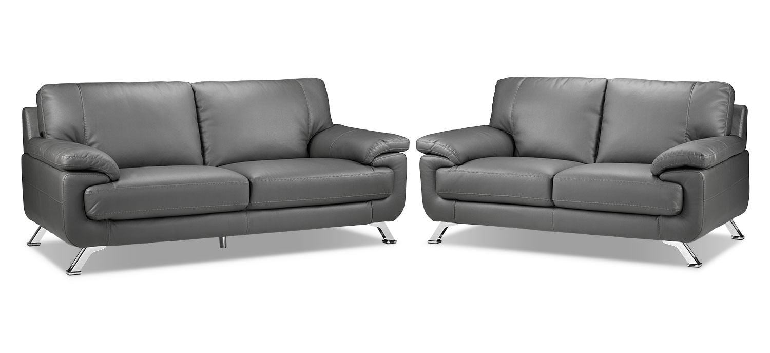 Infinity Sofa and Loveseat Set - Grey