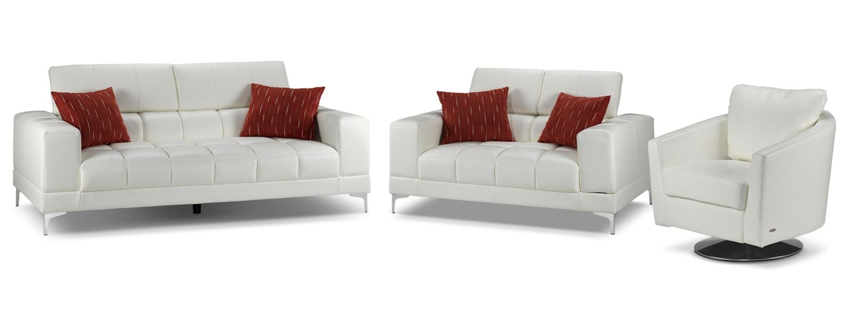 Bel-Air Sofa, Loveseat and Swivel Chair Set - White
