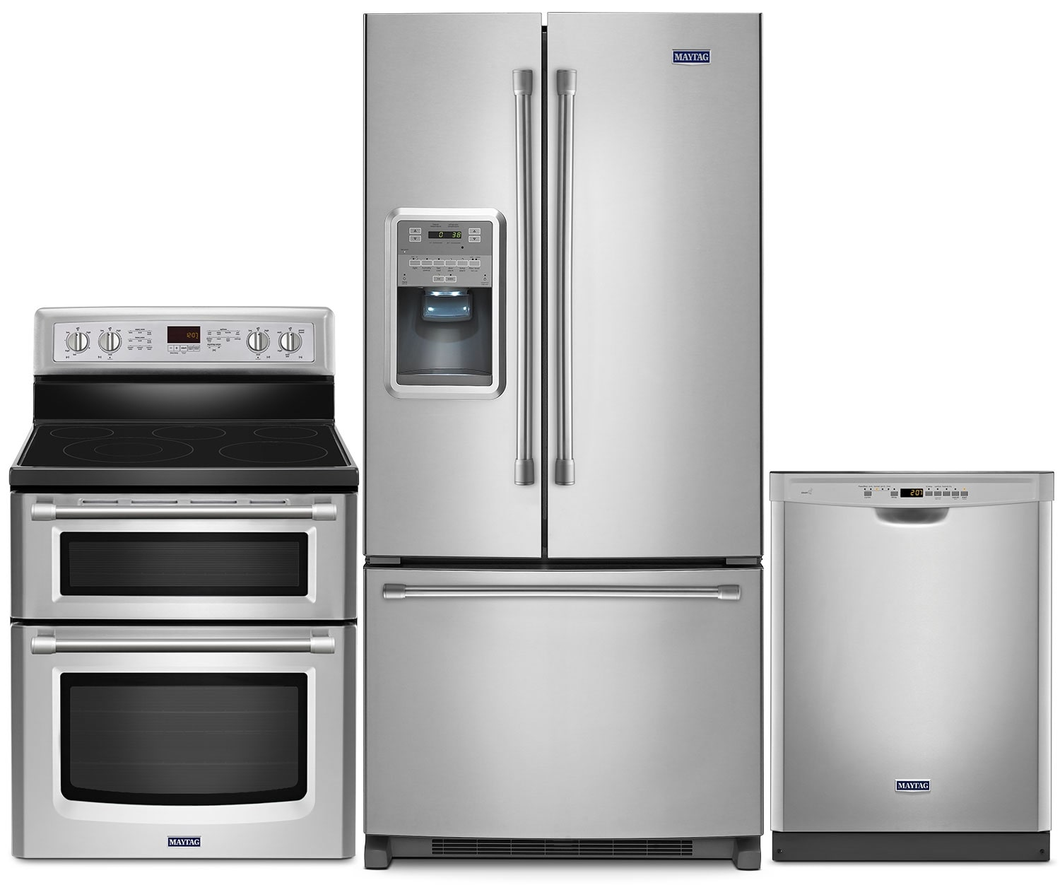 Cooking Products - Maytag® 22 Cu. Ft. French-Door Refrigerator, 6.7 Cu. Ft. Range and Built-In Dishwasher – Stainless S
