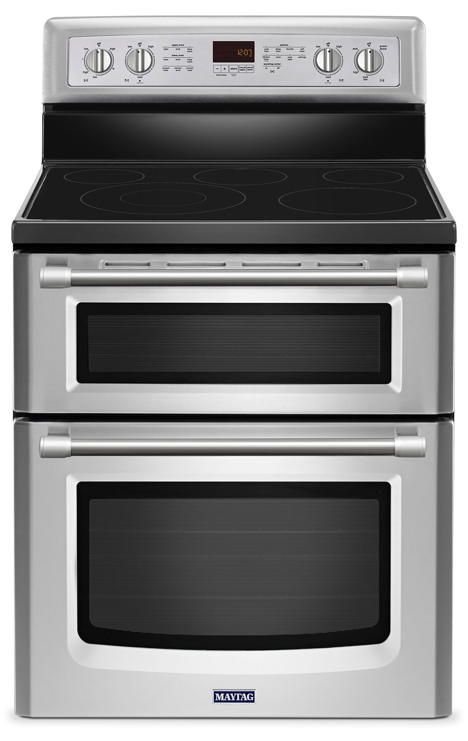 Maytag® Gemini® 6.7 Cu. Ft. Double Oven Electric Range – Stainless Steel