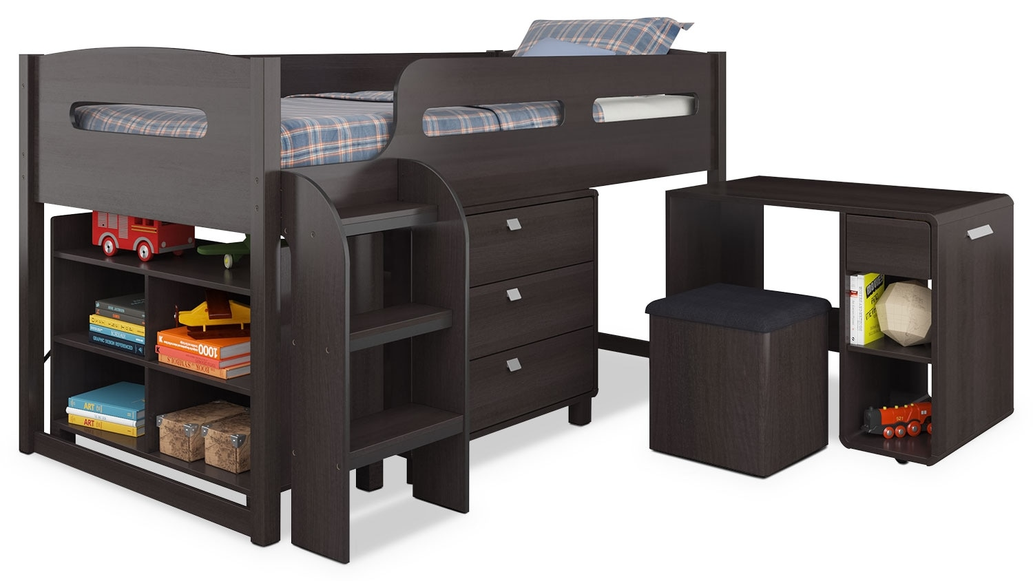 CorLiving Loft Bed with Roll-Out Desk – Espresso